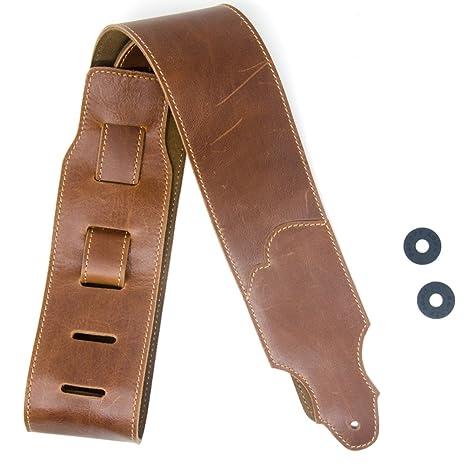 COOME Correas de guitarra de cuero de 7cm de ancho con Prima forro de cuero del