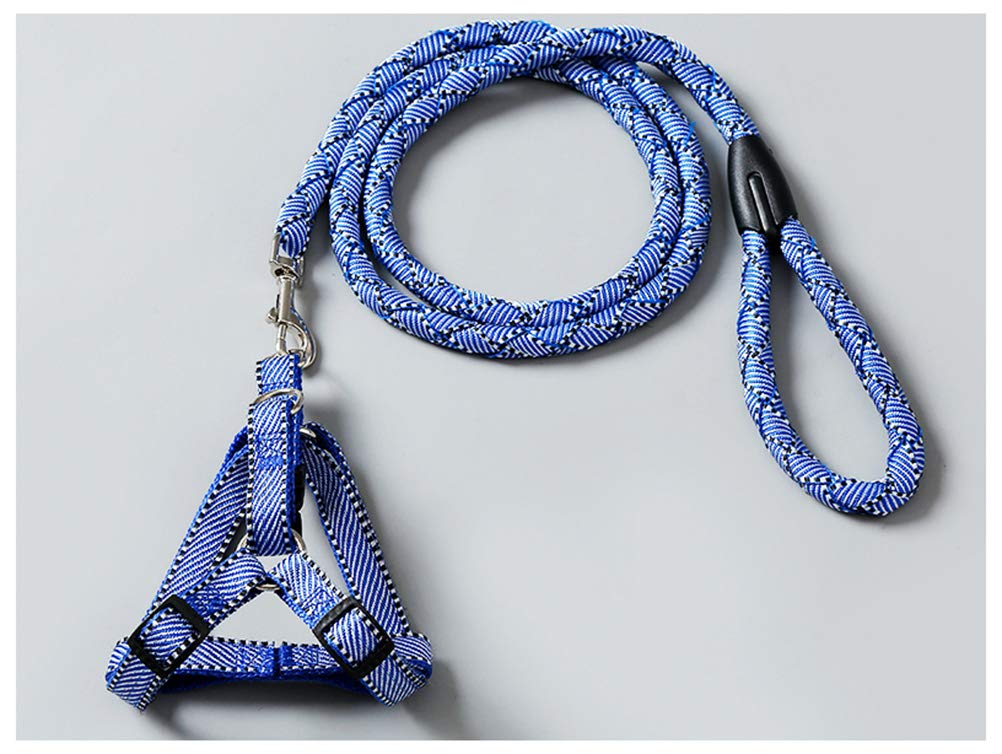 bluee L-12.5kg bluee L-12.5kg OPPALE Pet Leash Hand-Woven Dog Leash Rope Chest Strap Dog Leash Dog Chain Small Dog Puppy Pet Supplies Stretchable Dogpet Leash (color   bluee, Size   L-12.5kg)