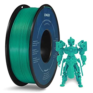 LONGER PLA 3D Printer Filament 1.75mm, Dimensional Accuracy +/- 0.02 mm, No Tangle, Eco-Friendly, Widely Compatibility (Grass Green, 1KG)