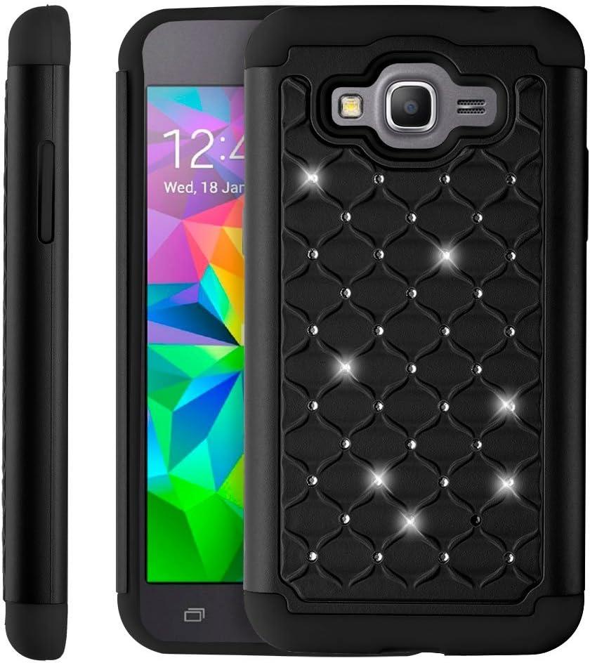 Samsung Galaxy Grand Prime coque - Fosmon [HYBO-SD] hybride détachable double-couche étoile diamant conception cas housse pour Samsung Galaxy Grand ...