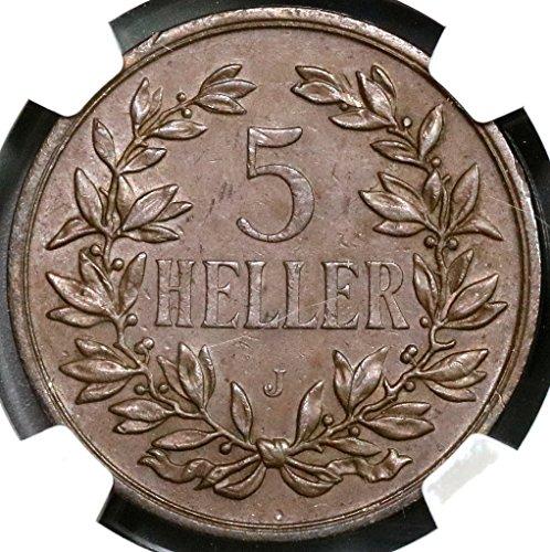 1908 DE German East Africa Huge Colonial Coin (16111205C) 5 Heller AU 55 NGC Almost Uncirculated