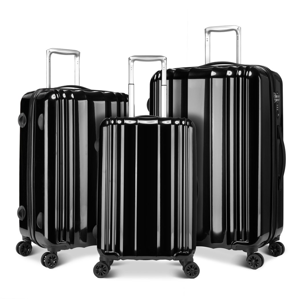 Windtook 3 Piece Luggage Sets Spinner Suitcase Bag for Travel and Business-M6600 Black