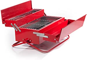 Suck UK - BBQ Tool Box | Camping & Outdoor | Novelty RED Portable Grill |
