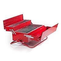 Designer Grill rot Edelstahl Stylegrill Camping Balkon Picknick ✔ tragbar