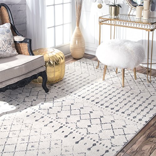 "nuLOOM Moroccan Blythe Area Rug, 8' 10"" x 12', Grey/Off-white from nuLOOM"