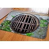 DREAMKAI 3D Vivid Manhole Cover Soft Flannel Entry Way Rug Indoor/Outdoor Doormat Floor Mat Christmas Decorative