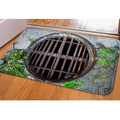 DREAMKAI 3D Vivid Manhole Cover Soft Flannel Entry Way Rug Indoor/Outdoor Doormat Floor Mat Christmas Decorative (Manhole Cover Rug)