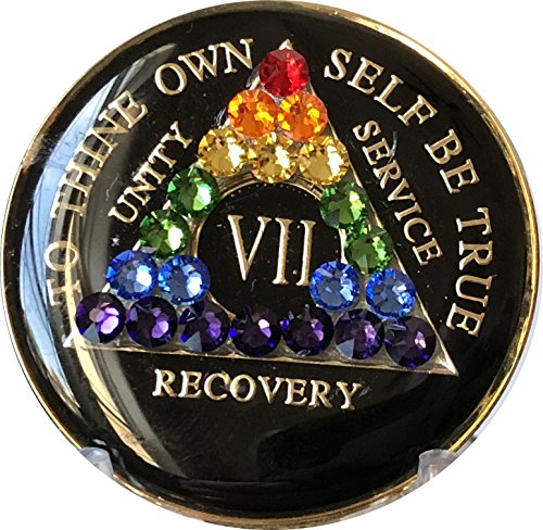 7 Year Black Rainbow Swarovski Crystal Tri-Plate AA Medallion Chip VII by Recovery Mint