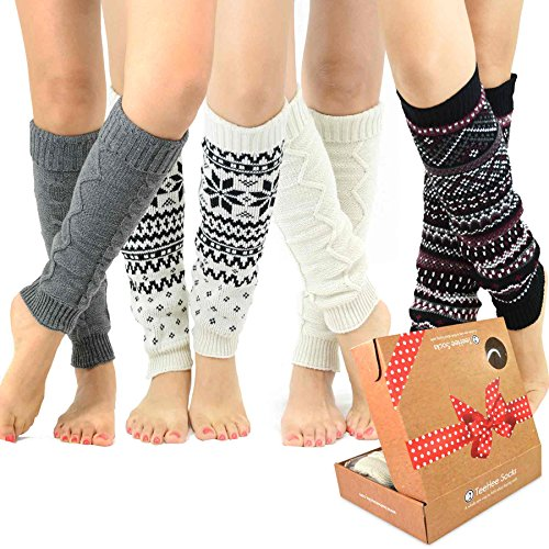 TeeHee Gift Box Women#039s Fashion Leg Warmers 4Pack Assorted Colors Assorted B