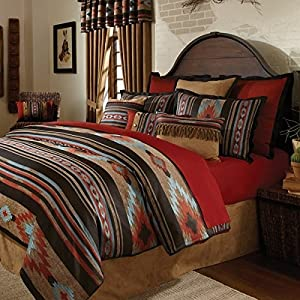 amazon com 4 piece red brown southwest comforter full set mission style bedroom furniture for sale mission style bedroom set plans