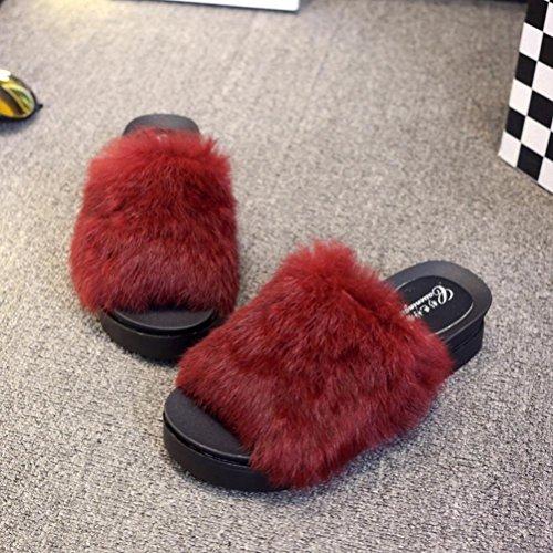 Mules épais Rawdah Sandal Slipper Claquette Plat Sliders Rouge en Fluffy Flip Fausse Flop Fourrure Bas Femmes trarB6qw