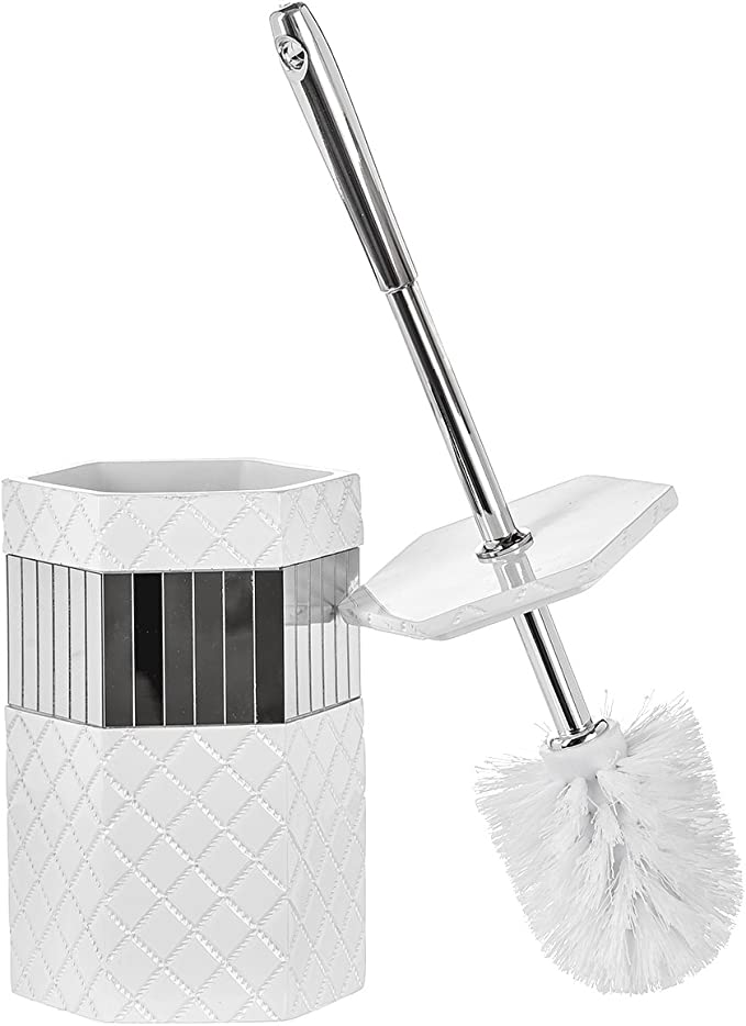 Creative Scents Bathroom Toilet Brush Set Quilted Mirror Collection Good Grip Toilet Bowl Cleaner Brush And Holder Decorative Design Compact Bowl Scrubber White Mirror Kitchen Dining Amazon Com