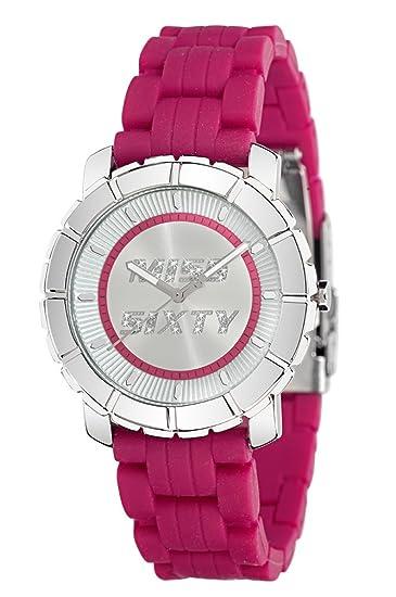 Miss Sixty R0751102001 - Reloj analógico de Cuarzo para Mujer con Correa de Silicona, Color Rosa: Amazon.es: Relojes