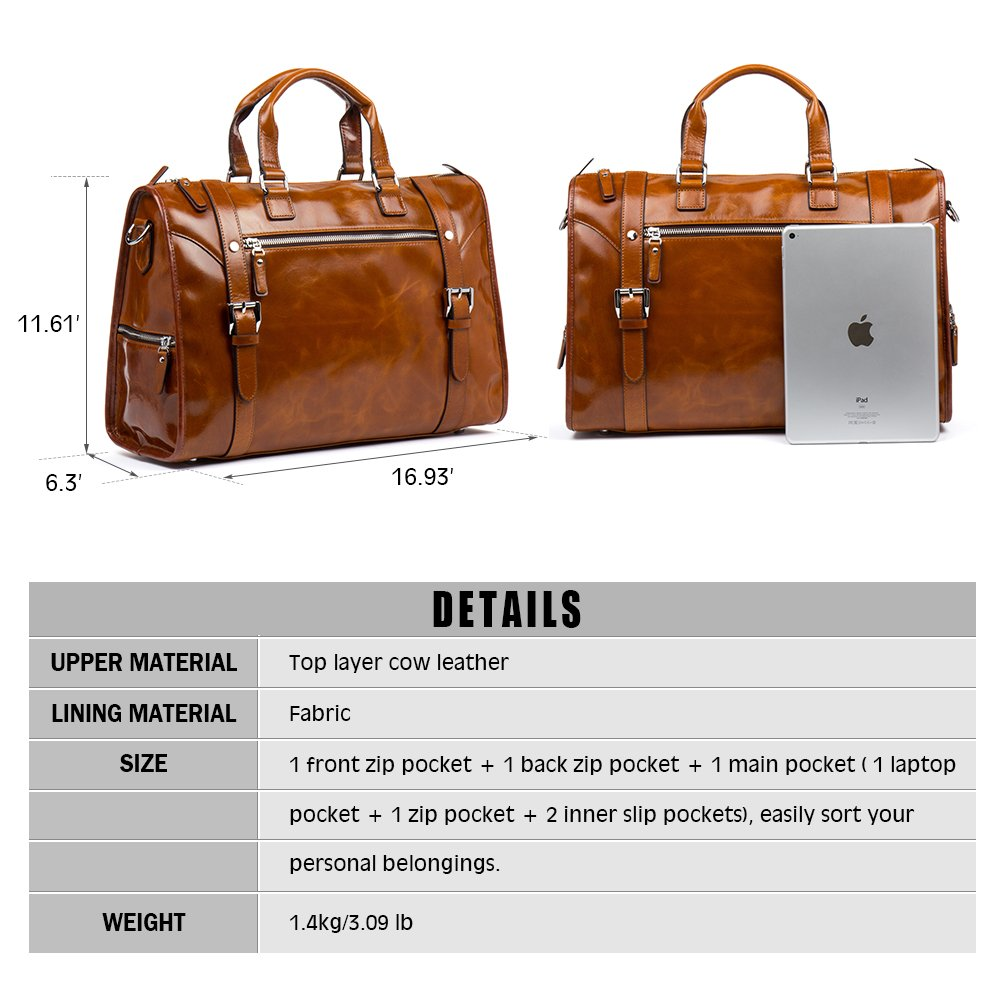 MANTOBRUCE Leather Briefcase Weekender Overnight Duffel Bag Gym Sports Luggage Bags for Men Women by MANTOBRUCE (Image #5)
