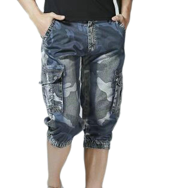 Cheap Etecredpow Mens Big and Tall Multi Pockets Camo Print Jogger Cargo Shorts