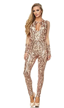 5bd905b1a3e Mesh Sleeves Sequin Jumpsuit in Rose Gold at Amazon Women s Clothing ...