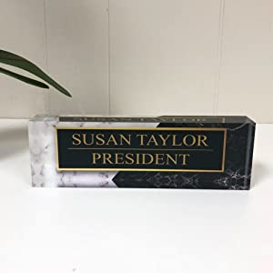 Desk Name Plate Personalized Name & Title, Black & White Marble Printed on Premium Clear Acrylic Glass Block Custom Office Decor Desk Nameplate Unique Customized Desk Accessories Appreciation Gift