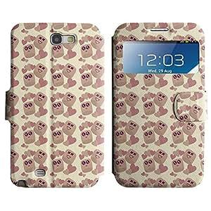 LEOCASE Tazas Lindas Funda Carcasa Cuero Tapa Case Para Samsung Galaxy Note 2 N7100 No.1000597