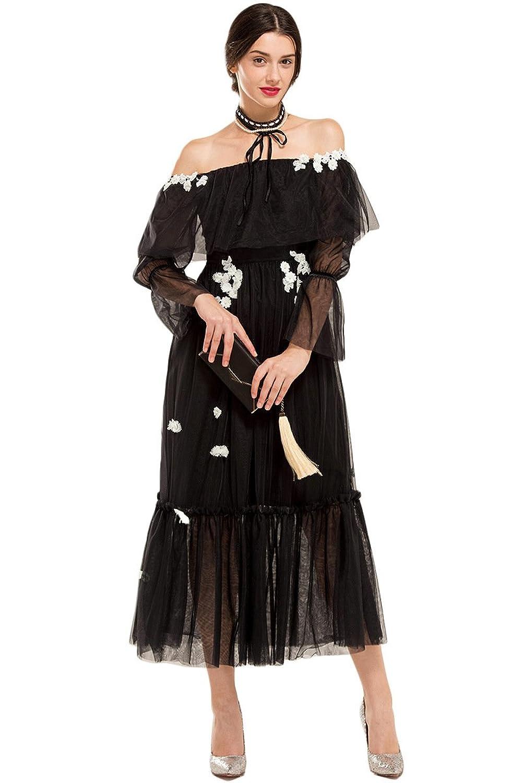 YIGELILA Women's Embroidery Off Shoulder Long Sleeve Maxi Dress Black