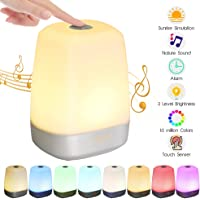 Wake Up Light Glime Sunrise Electronic Alarm Clock LED Music Touch Sensor 16 Million Colors Dimmable Light Tomshine
