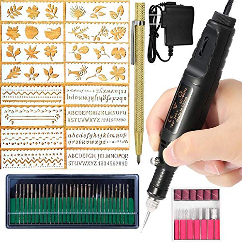 Electric Engraver Pen,Engraving Tool Kit for Metal Glass Stones Ceramic Plastic Wood Jewelry with Polishing Head,Scriber…