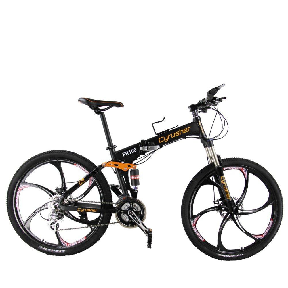 EXCY(エクシ) FR100 マウンテンバイクMTB フルサスペンション シマノ24段変速 アルミフレーム 26インチ 軽量 折りたたみ自転車 泥除け付き B0792V4Y83