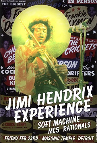 "Jimi Hendrix Detroit Psychedelic Rock Concert Poster 19"" X 13"" Ready for Display, Shipped Flat, Bagged and Boarded by Grande Ballroom Poster Artist Carl Lundgren Printed in Detroit MI USA"