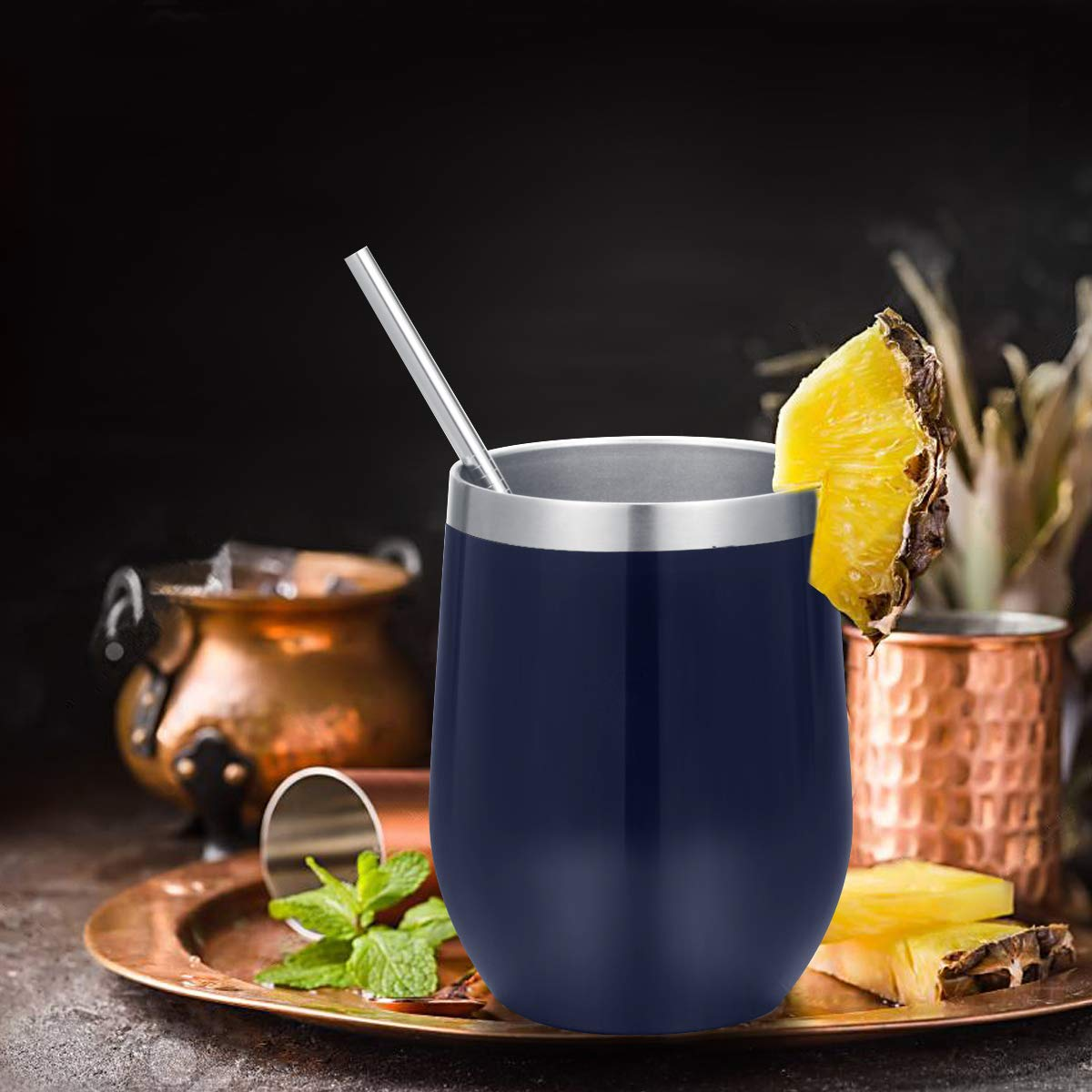 Colorful Champagne Coffee 1PCS Stainless Steel Triple-Insulated Vacuum Wine Glass Cup with straws for Wine Fungun 12 Oz Stemless Wine Tumbler Cocktails and Beer