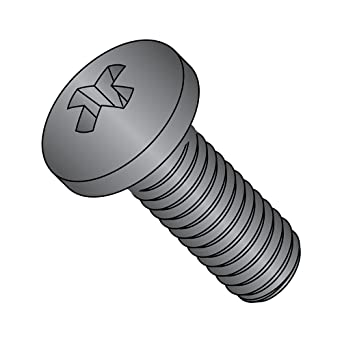 1-1//4 Length Meets ASME B18.6.3 Fully Threaded #1 Phillips Drive Imported 18-8 Stainless Steel Pan Head Machine Screw #4-40 Thread Size Black Oxide Finish Pack of 4000