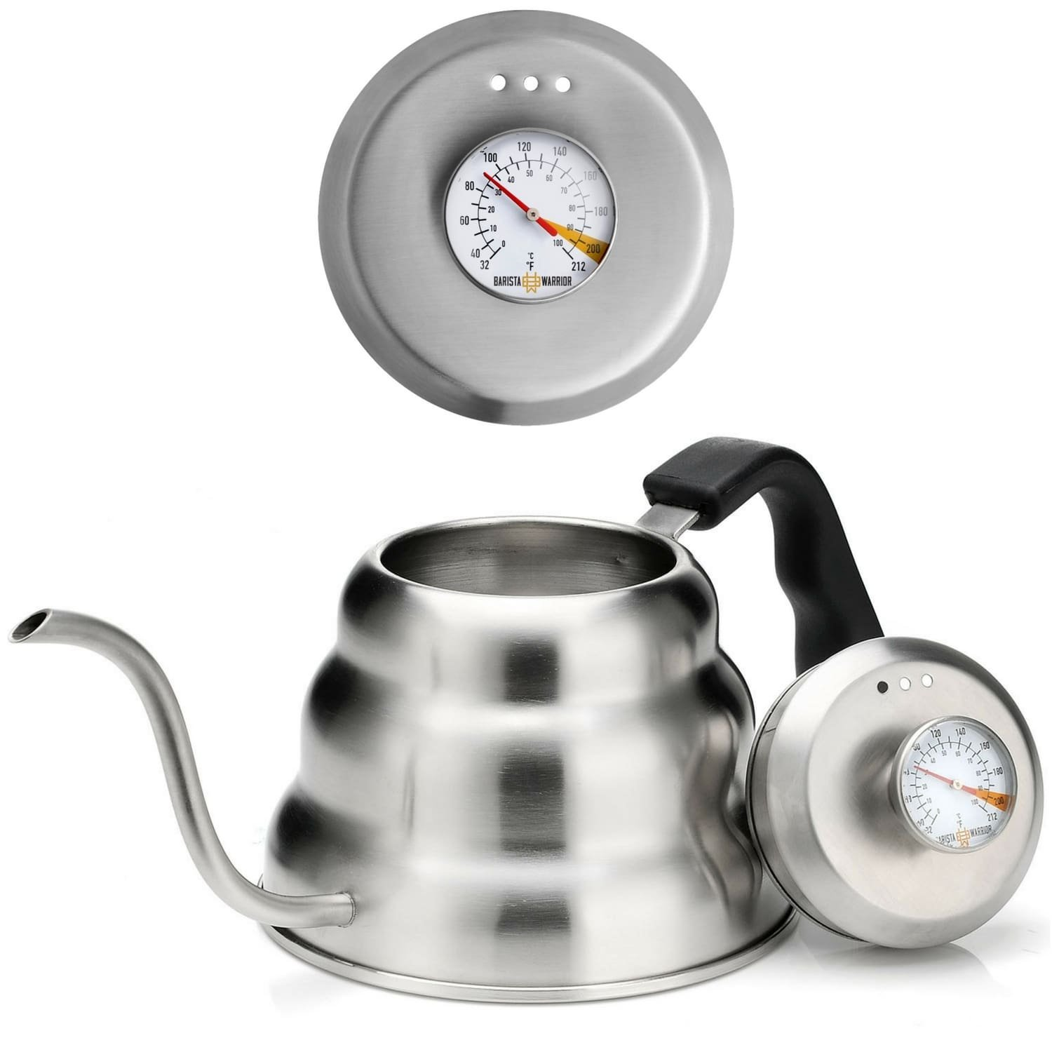 Pour Over Coffee Kettle with Thermometer for Exact Temperature - Gooseneck Pour Over Kettle for Drip Coffee and Tea (1.0 Liter | 34 fl oz) Barista Warrior