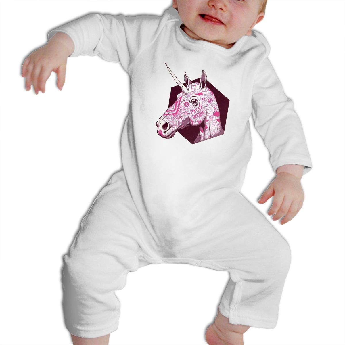 Cami Pink Unicorn Baby Boys Girls Long Sleeve Onesies Infant Bodysuit Baby For 6-24months