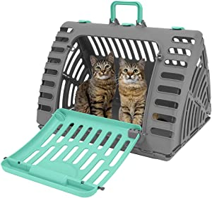 SportPet Designs Foldable Travel Cat Carrier - Front Door Plastic Collapsible Carrier Collection