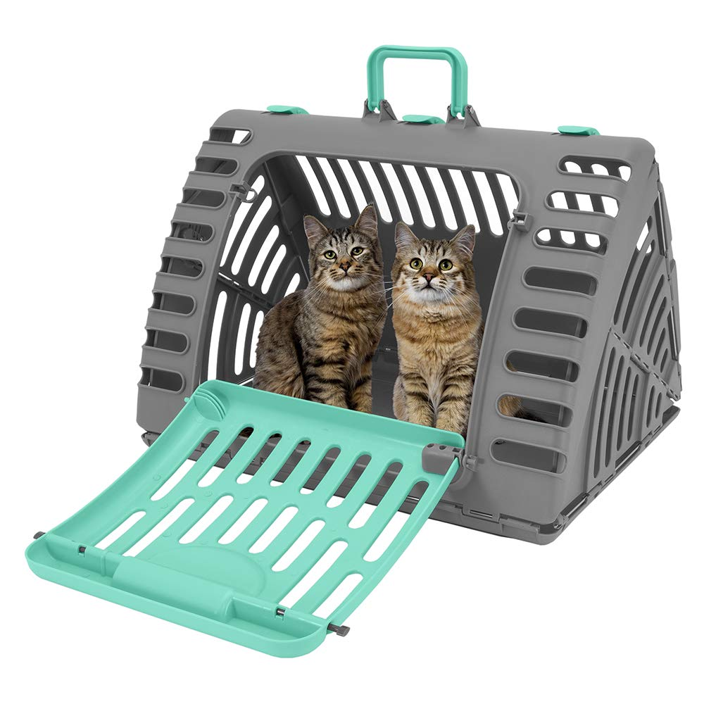 SportPet Designs X-Large Foldable Travel Cat Carrier - Front Door Plastic Collapsible Carrier by SportPet Designs
