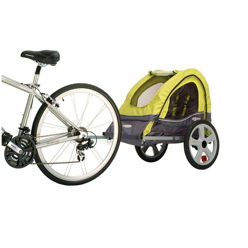Toddler Bike Trailer Single Bicycle and for Yours Pets Durable Weather-Resistance Canopy Attaches to Most Bicycles Universal Wheels Foldable Easy Storageshock-Absorbing Frame