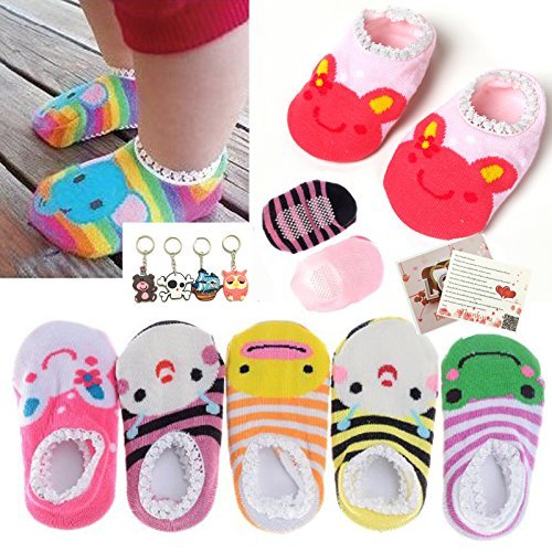 Fly-love® 5 Pairs Cute Baby Toddler Stripes Anti Slip Skid Socks No-Show Crew Boat Sock For 6-18 month (Baby Girl Love)