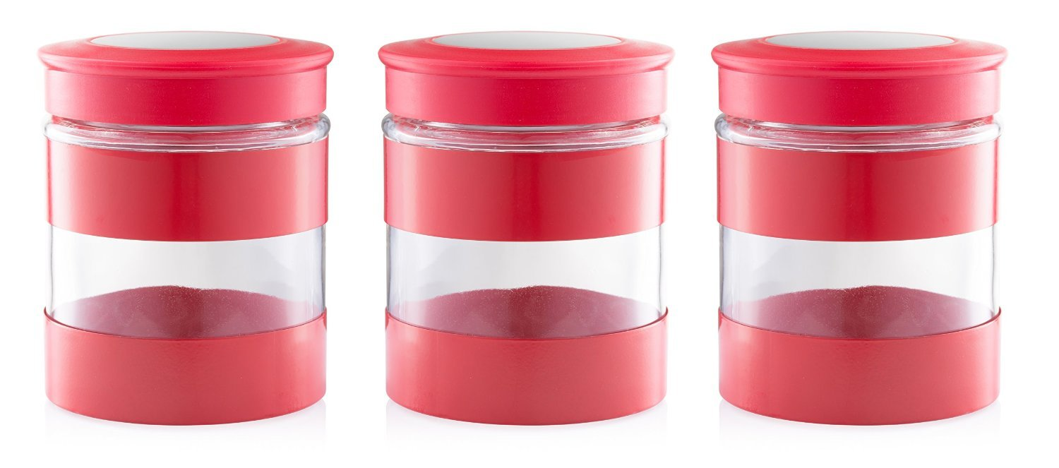 amazon com home fashions 3 piece kitchen canisters glass and