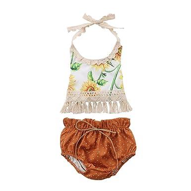 657d7d787f0 Amazon.com  Aliven 3PCS Newborn Infant Baby Girls Outfit Clothes Romper  Jumpsuit Bodysuit + Pants + Headband Set  Clothing