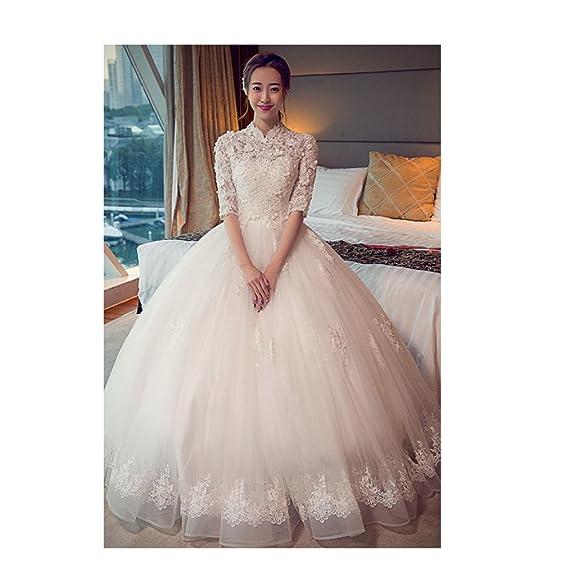 Desconocido Collar de pie en la primavera de la manga de la manga coreana Qi Slim mujeres embarazadas era flores delgadas novia vestido de novia XX: ...