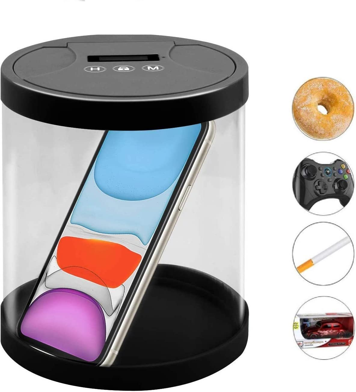 JRing Time Locking Container Pantry Food Storage Box that Collecting Food Medicines Gaming Machine to Prevent Over Sweet Food Smoking and Playing Games (Black)