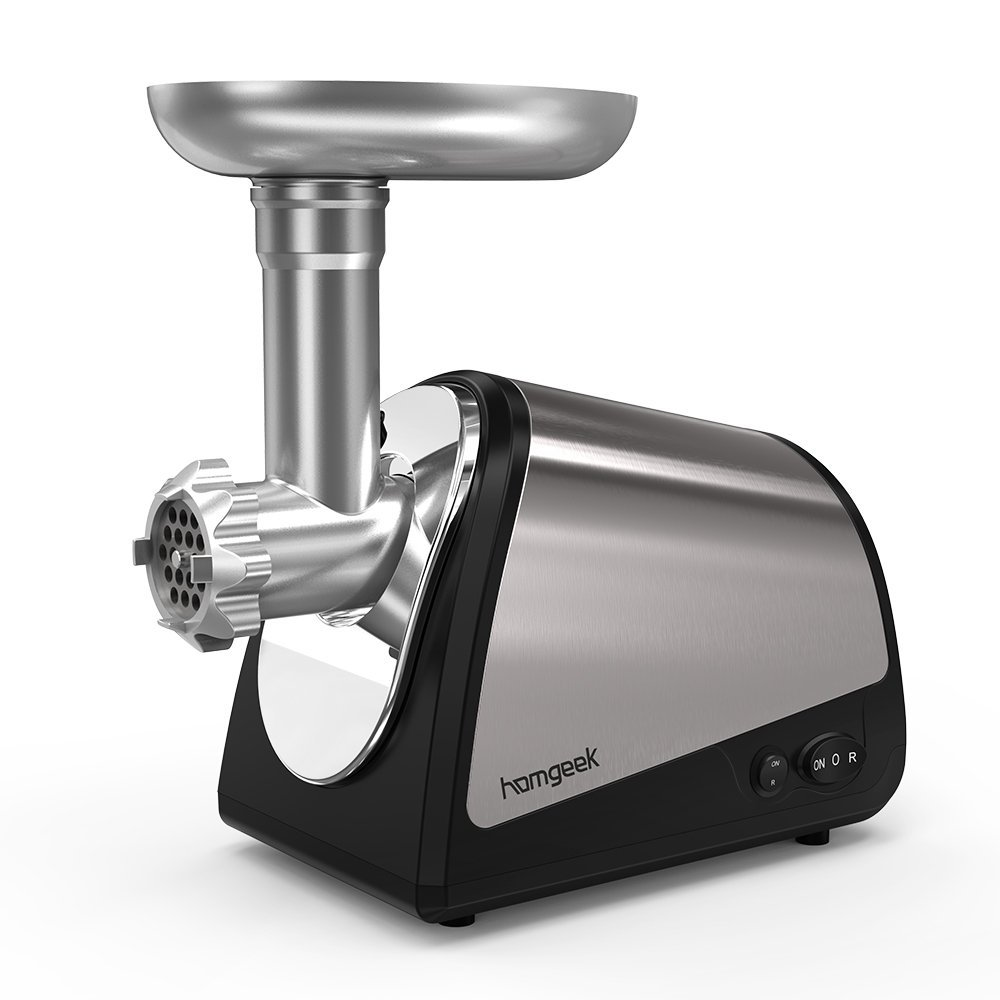 Homgeek Electric Meat Grinder, Sausage Maker Meat Machine Stainless Steel Mincer With 3 Cutting Blades And Stuffing Tubes, 1200W