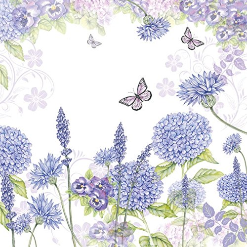 4 Paper Napkins for Decoupage - 3-ply, 33 x 33cm - Purple Wildflowers Tigers on the Loose