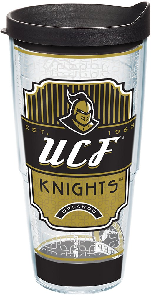 Tervis 1228348 UCF Knights Pregame Prep Tumbler with Wrap and Black Lid 24oz, Clear
