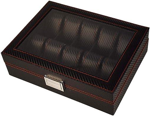 FIONAT Cajas para Joyas Hombre Caja para Relojes Mujer Regalo Viaje Caja De Almacenamiento De Exhibición De Mostrador De Joyería Flip De Techo Solar De Pintura De Madera 10 - Fibra De