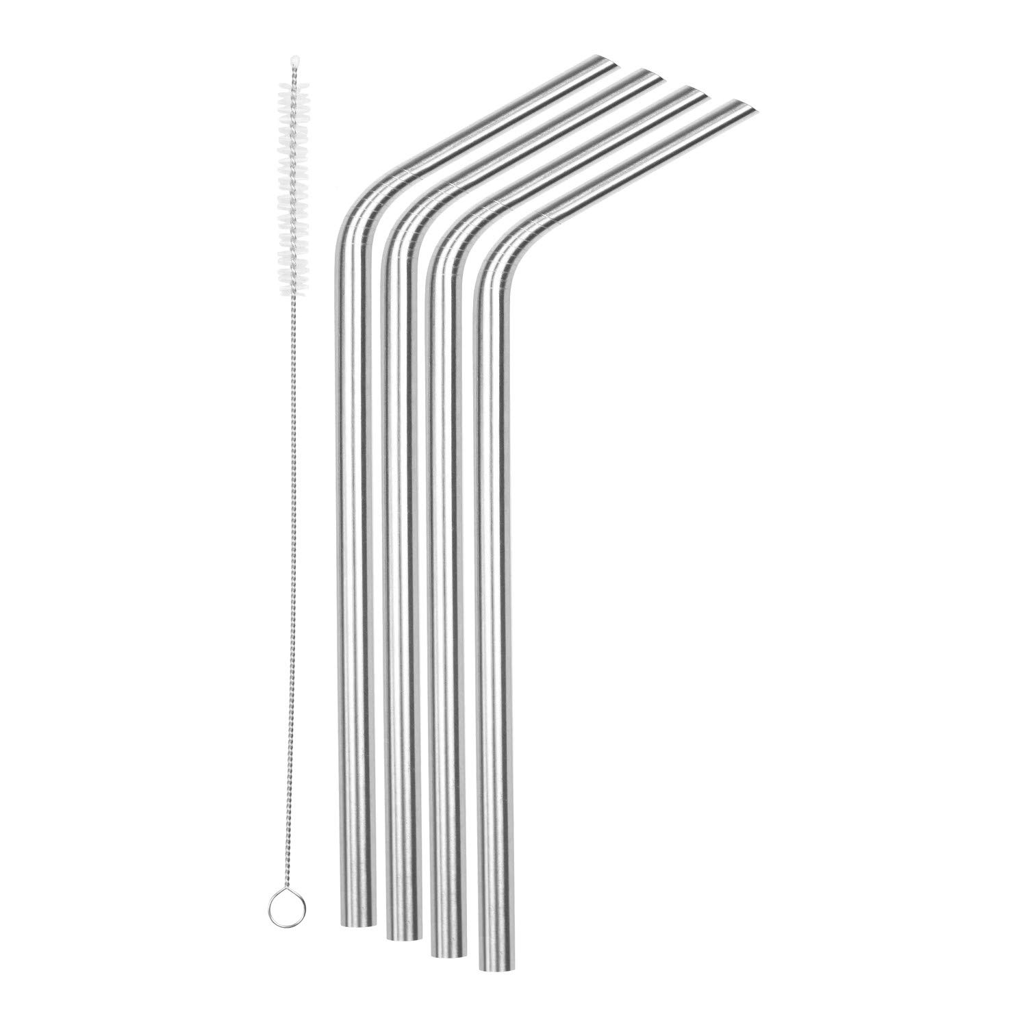 """SipWell 8.5"""" 9.5mm Bent Wide Stainless Steel Drinking Straws, 4-Pack - Dishwasher Safe & Durable Food Grade Metal Straws – Perfect for Smoothies & Cold Beverages"""