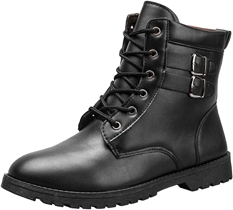 2aaecb768a0 Amazon.com: Colmkley Mens Work Boots Combat Hiking Motorcycle Lace ...