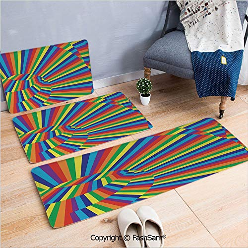 3 Piece Fashion Flannel Door Mat Carpet Rainbow Colored Geometrical Whirling Figures with Contrast Perspective Optic Design for Door Rugs Living Room(W15.7xL23.6 by W19.6xL31.5 by W15.7xL39.4)