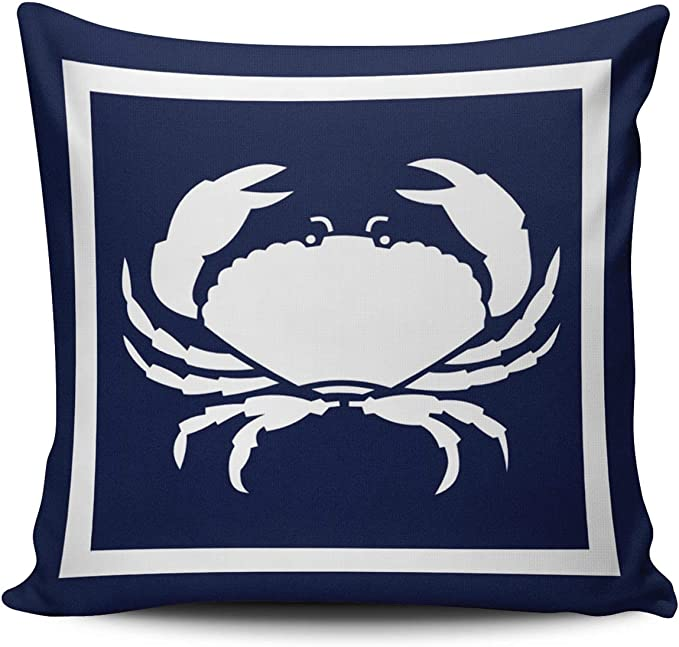 Fanaing Outdoor Nautical Crab White Navy Blue Pillowcase Home Sofa Decorative 16x16 Inch Square Throw Pillow Case Decor Cushion Covers One Side Printed Home Kitchen