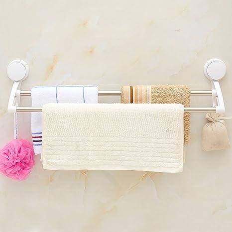 ZHGI Fuertes ventosas dobles colgar toallas de baño sin perforación toallero