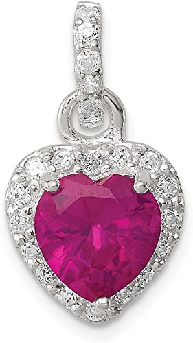 Cubic Zirconia Love Heart Pendant 925 Sterling Silver With Red CZ