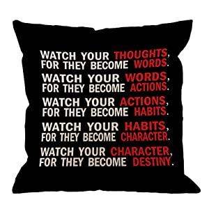 HGOD DESIGNS Quote Pillow Cover, Watch Your Thoughts Motivational Words Quotes Cotton Linen Cushion Cover Square Standard Home Decorative Throw Pillow for Men/Women 18x18 inch Black White Red